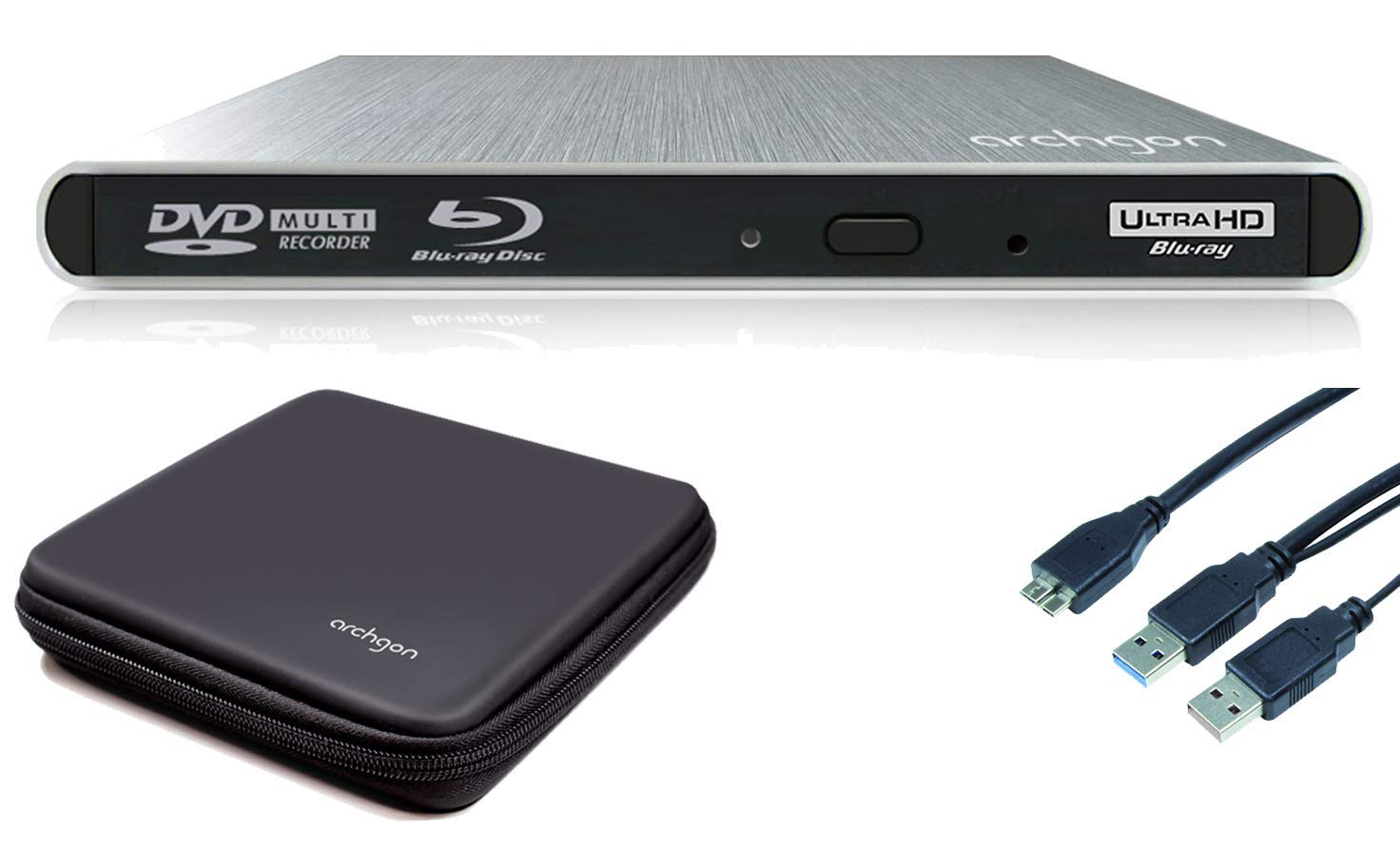 Archgon Style reproductor 4K-UHD externa gravadora e lector de Blu-ray USB 3.0 plateado y caja protectora