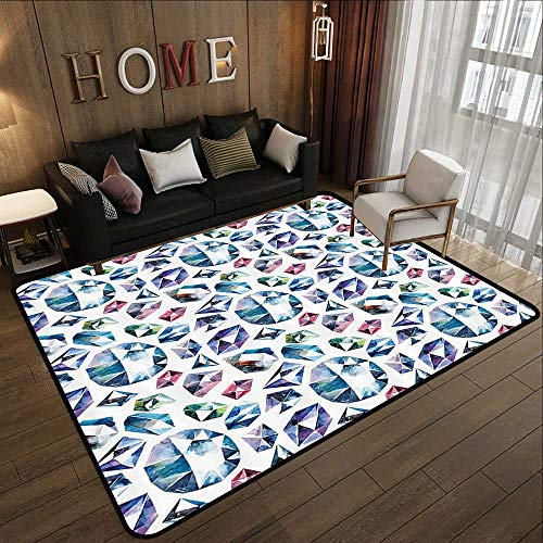 Kids Rugs for playroom,Diamond Decor,Small Larges Watercolor Style Shaded Diamond Crystal Stones Zircon Wealth Bridal Theme Image,Multi 35