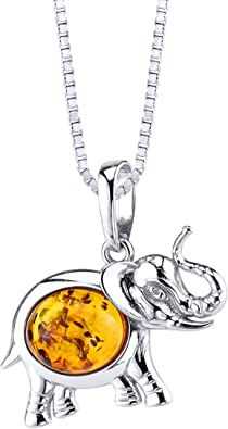 BALTIC AMBER STERLING SILVER 925 ELEPHANT ANIMAL PENDANT NECKLACE JEWELLERY