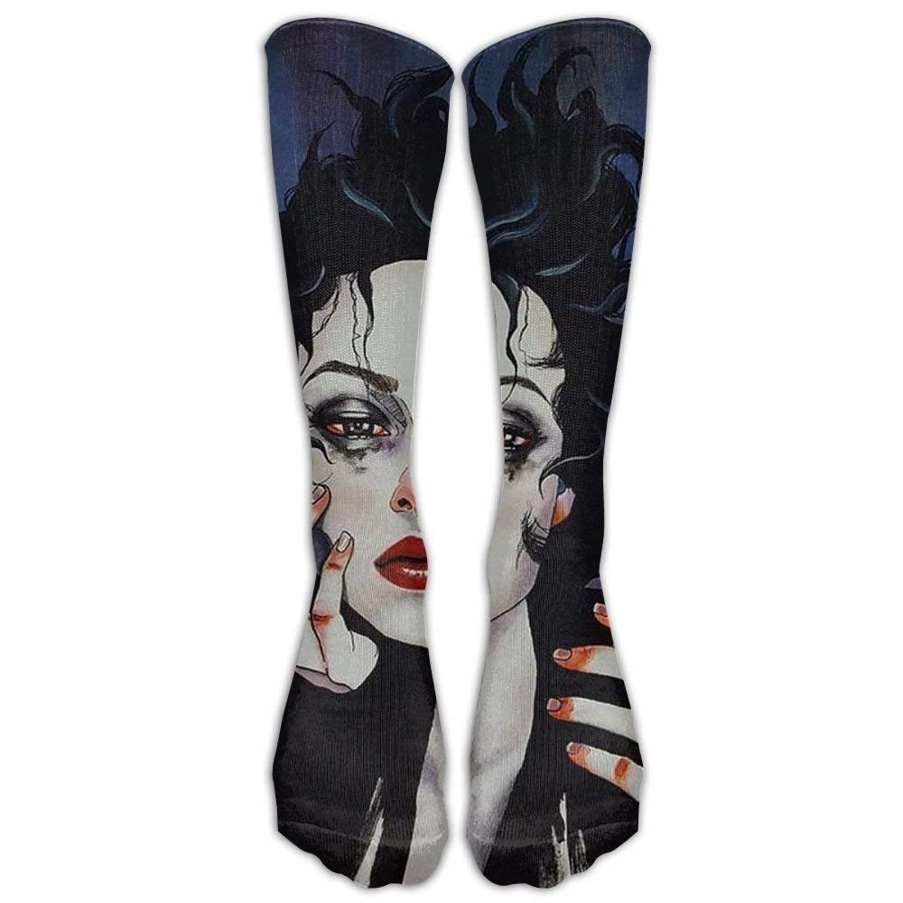 Galaxy Sad Goth Gotik Gothic Women Girl Art Sock Classic Fancy Design Multi Colorful Crew Knee High Socks Running Soccer Stockings Gothic Women Girl Art