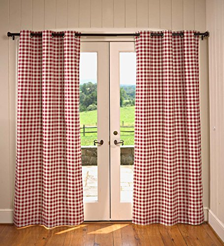 95' Curtain Drapery - Plow & Hearth Thermalogic Check Grommet-Top Curtain Pair, 95''L Energy Efficient Insulated Light Block - Cranberry