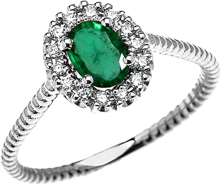 8d1efed953e17 14k White Gold Dainty Oval Halo Diamond and Solitaire Emerald Rope ...