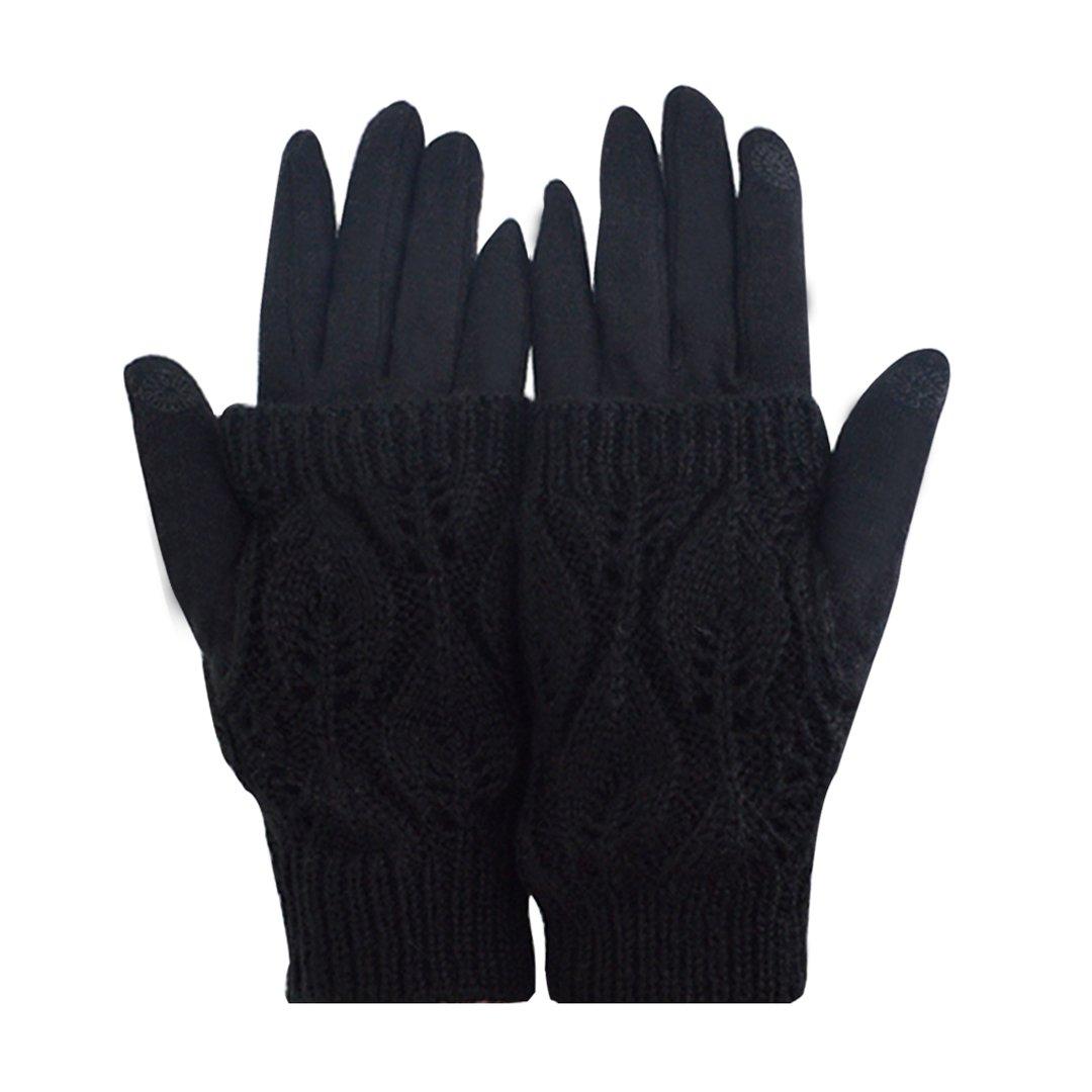 Monique Women Touchscreen Cashmere-like Plush Gloves Winter Warm Full-finger Gloves Fingerless Gloves Set Motorcycle Bicycle Gloves Mittens Black