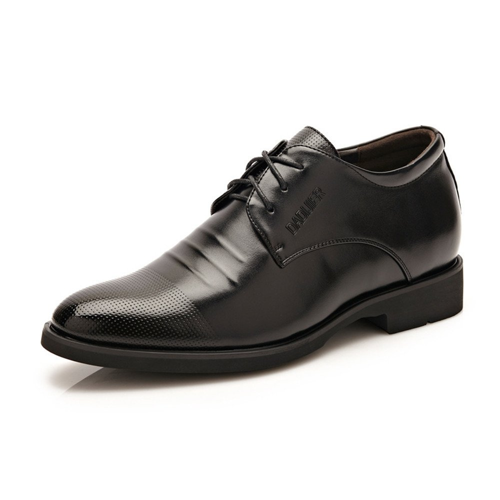 Black XIANGBAO-Personality Men's Elevator shoes 2  Taller Lace up Leather Loafer Removable Height Increasing Insole