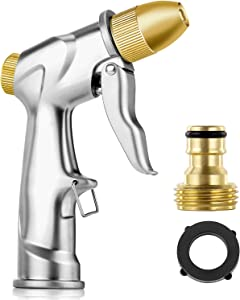 Doset Upgrade Garden Hose Nozzle, 100% Heavy Duty Metal Handheld Water Nozzle High Pressure Pistol Grip Sprayer in 4 Spraying Modes for Hand Watering Plants and Lawn, Car Washing, Patio and Pet