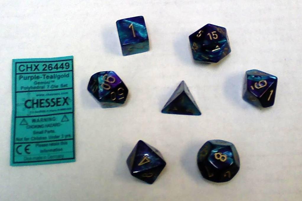 Chessex Polyhedral 7-Die Gemini Dice Set: Purple & Teal with Gold (d4, d6, d8, d10, d12, d20 & d00) CHX-26449