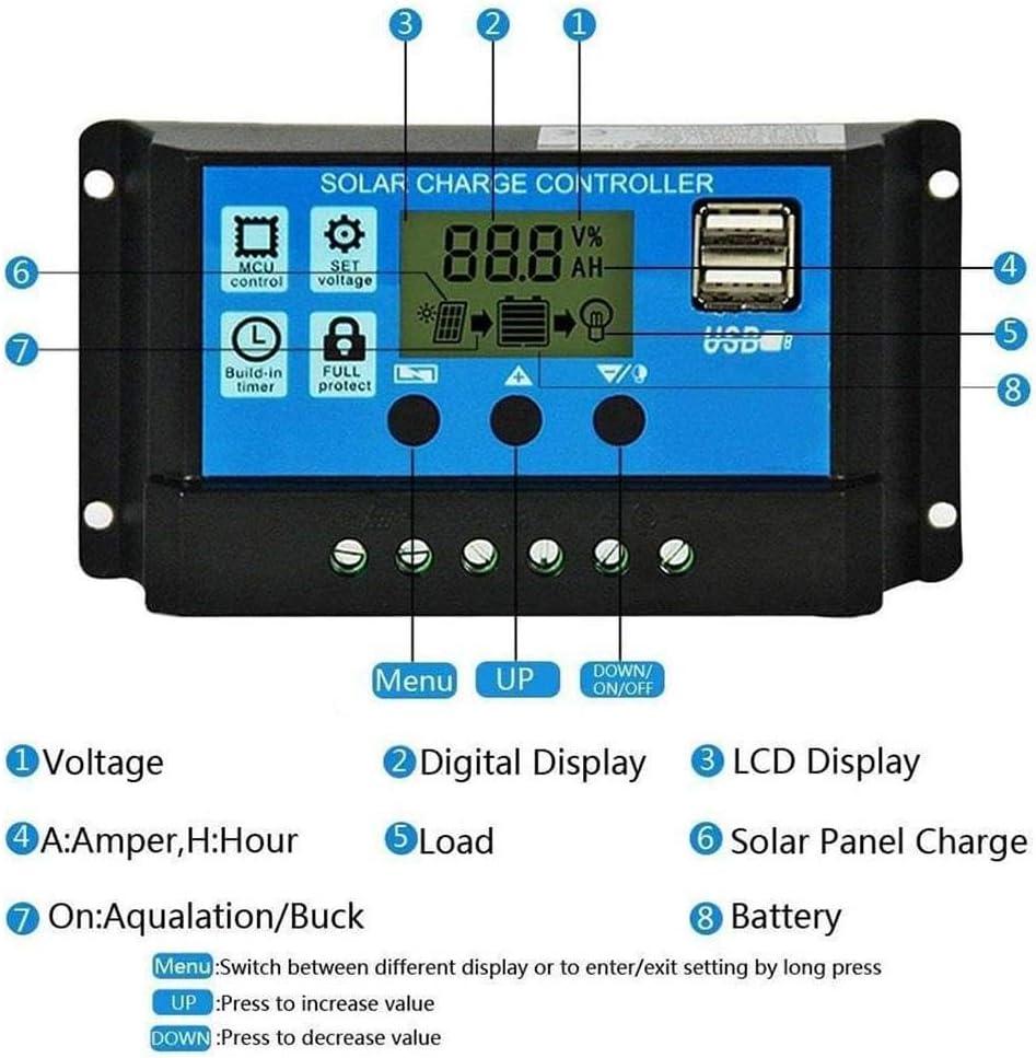 50A 30A 20A 40A Oshide 60A 10A 12V 24V Salida de Carga Solar autom/ática Panel Solar Regulador fotovoltaico Controlador Controladores PWM LCD Dual USB 5V