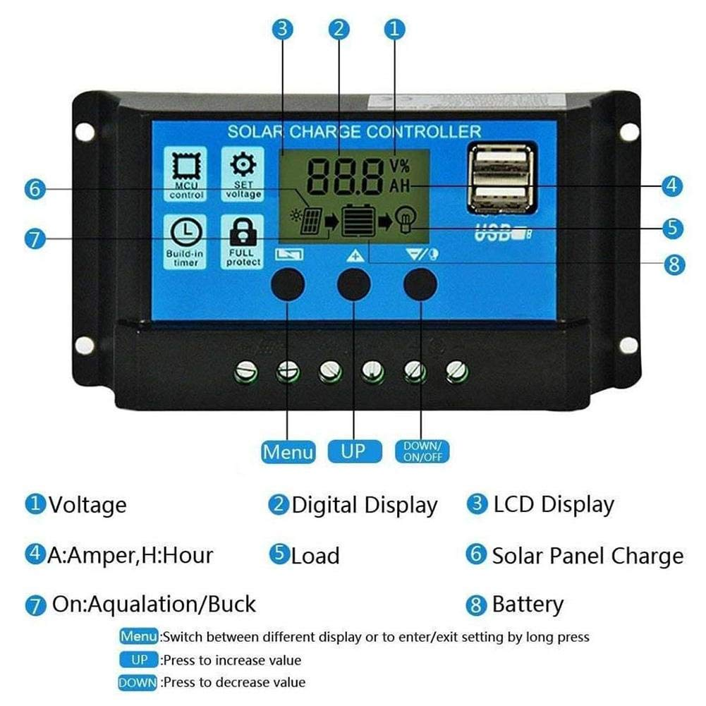 24V Dual USB Output Automatic Solar Charging Controller with Timer Light Sensor Solar Panel PV Regulator 12V Multi-Current Regulation