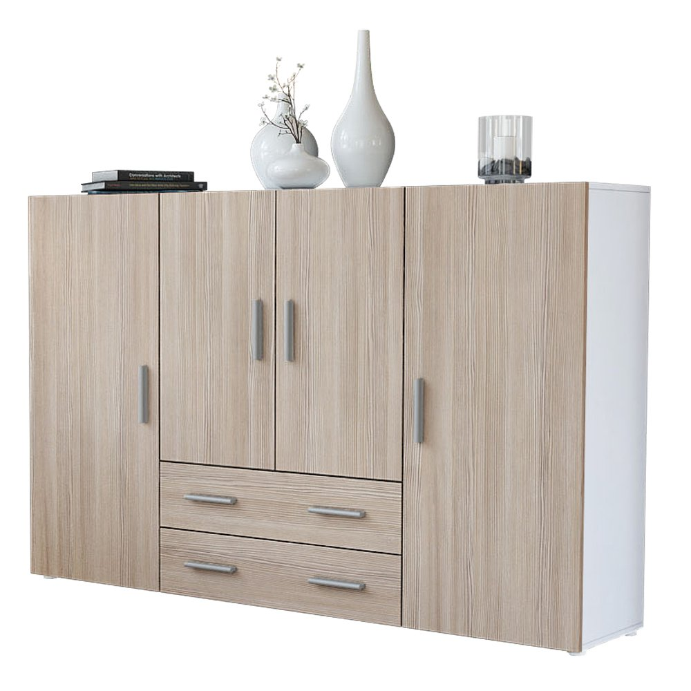 Vladon Highboard Sideboard Nora, Korpus in Weiß matt/Front in Avola ...