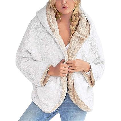 PowerFul-LOT Manteau Femme Hiver Chaud Long Vêtements Femme Décontractée  Toison Flou Faux en Peau 6574d8eb1994