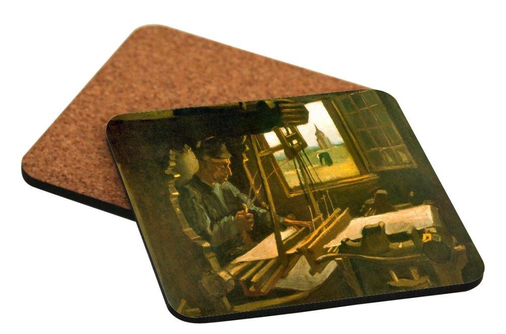 Rikki Knight Vincent Van Gogh Art Open Window Design Square Beer Coasters