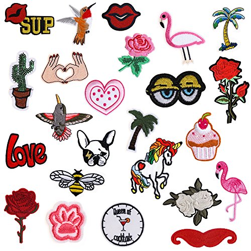 Best Prices! Iron On Patches 24 Pieces - Assorted Cool Patches Fabric Embroidered Patches Motif Appl...