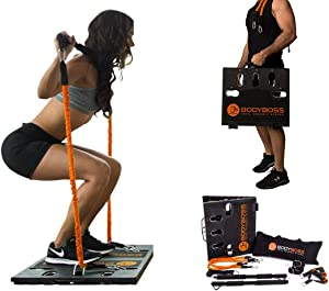 BodyBoss 2.0 - Full Portable Home Gym Workout Package + Resistance Bands - Collapsible Resistance Bar PKG4-Orange