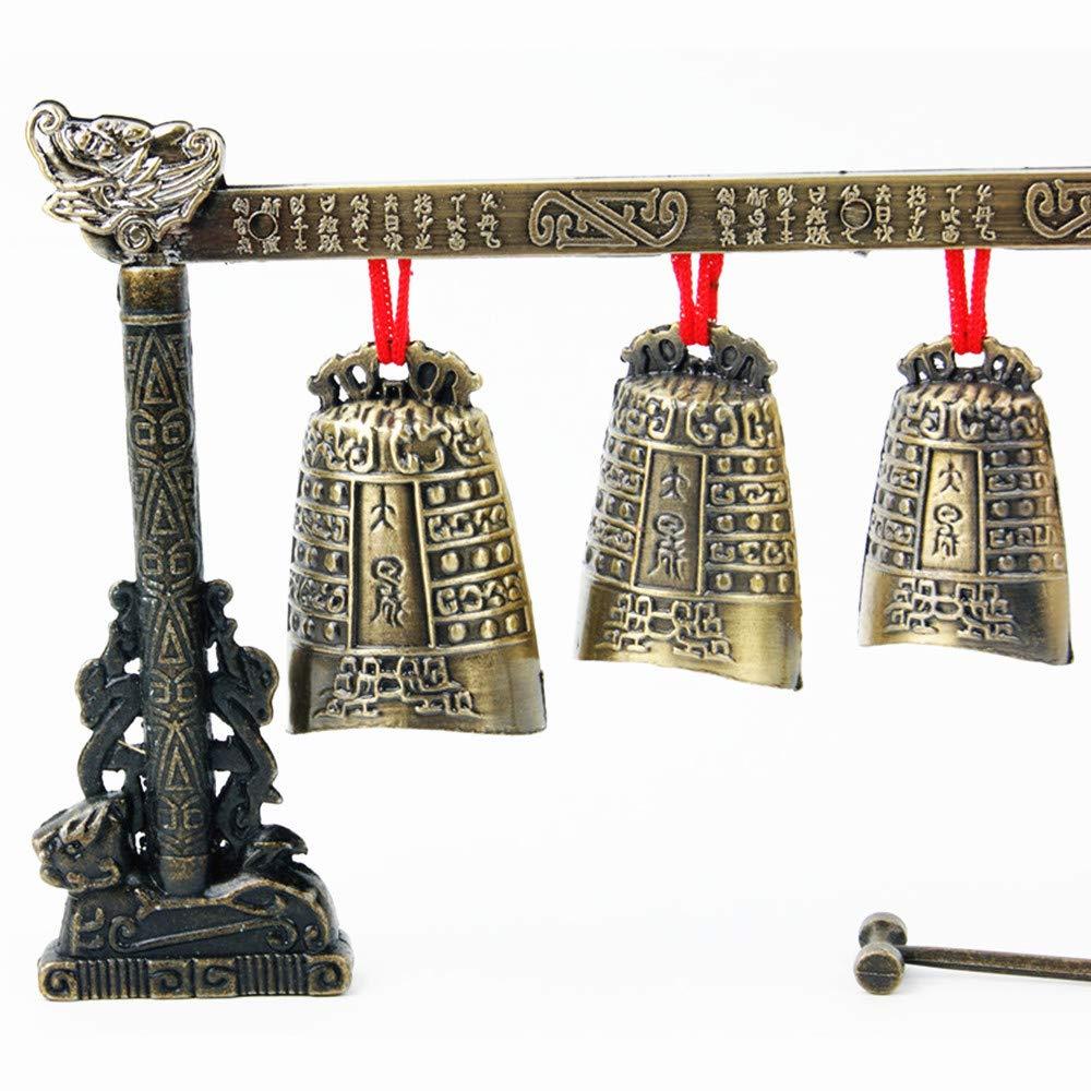 LaDicha Instrument De Musique Chinoise Bronze M/éditation Gong avec 7 Vache Fleuri Bell Ensemble