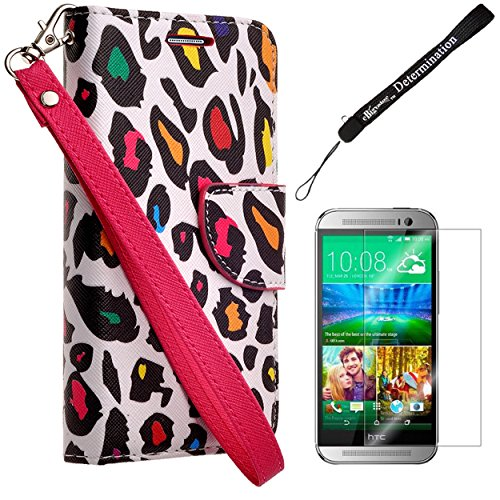Fashion Design Colorful Leopard Wallet Flip Case w/Screen Protector for HTC One M9 Android 5.0 Lollipop with HTC Sense