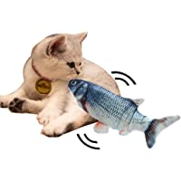 Cat Kicker Fish Toy - Flopping Fish Cat Toy - Cat Wagging Fish Realistic Plush Simulation Electric Doll Fish Plush Toy Interactive Pets Pillow Chew Bite Supplies for Cat/Kitty/Kitten Fish Flop