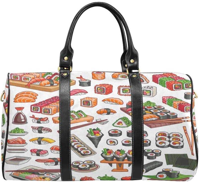 InterestPrint Unisex Duffel Bag Carry-on Bag Overnight Bag Weekender Bag Colorful Sushi and Rolls Set Japanese Traditional