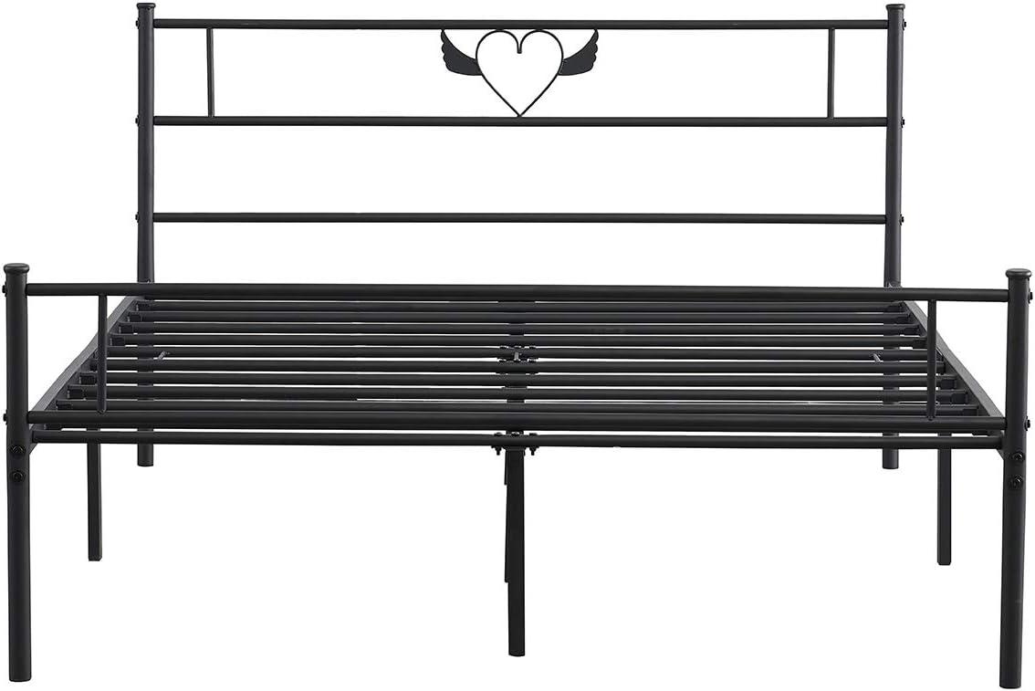Negro,Apto para colch/ón de 140 x 190CM HJhomeheart Marcos Cama de Metal Cama Doble Cama Matrimonio Somier Estructura de con Listones para
