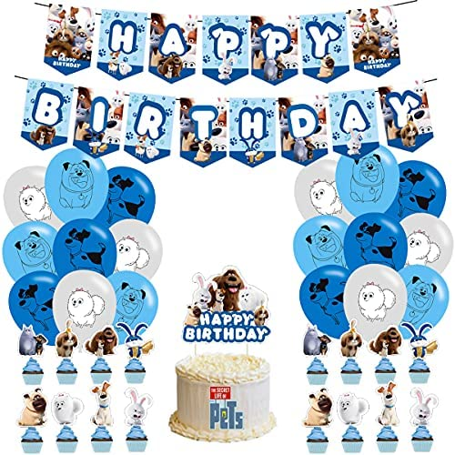 Birthday Party Supplies – The Secret Life of Pets Party Supplies – The Secret Life of Pets Birthday Party Decoration Happy Birthday Banner Balloon Cake Toppers for The Secret Life of Pets Theme Party Supplies