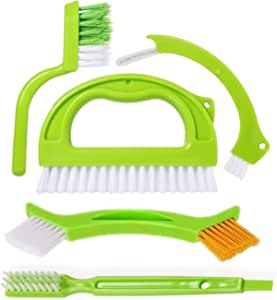 Tile Brushes Grout, Grout Cleaner Brush, Tile Joint Scrub Brush with Handle, Stiff Cleaning Brush for All of The Household Such as Shower, Kitchen, Seams, Floor Lines(5 in1)