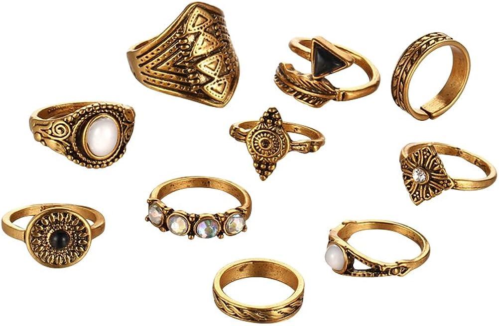 FENICALas Mujeres Anillos de Dedo de la Vendimia establecen étnica Exagerada combinación de Piedras Preciosas Anillos de Dedo Traje Paquete de la joyería 10pcs (Dorado)