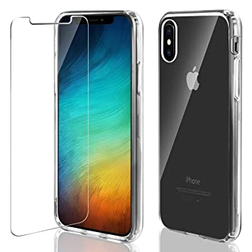 iPhone X / Xs Funda + Cristal Templado, AROYI Premiun Carcasa iPhone Xs Transparente Dura PC Trasera con Protector de Pantalla 9H Dureza Dura Case ...
