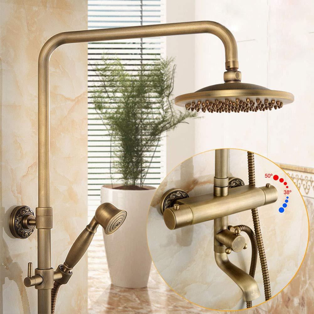 P European Retro Shower Flower Sprinkle Set, Ceramic Valve Spool Brass,Antique Lift Shower Flower Sprinkle Set Household Hotel Bathroom Flower Sprinkle
