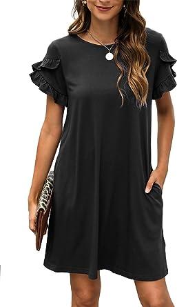Manydress Women's A-Line Casual Ruffle Short Sleeve Summer Tunic T-Shirt Dress with Pocket MY088