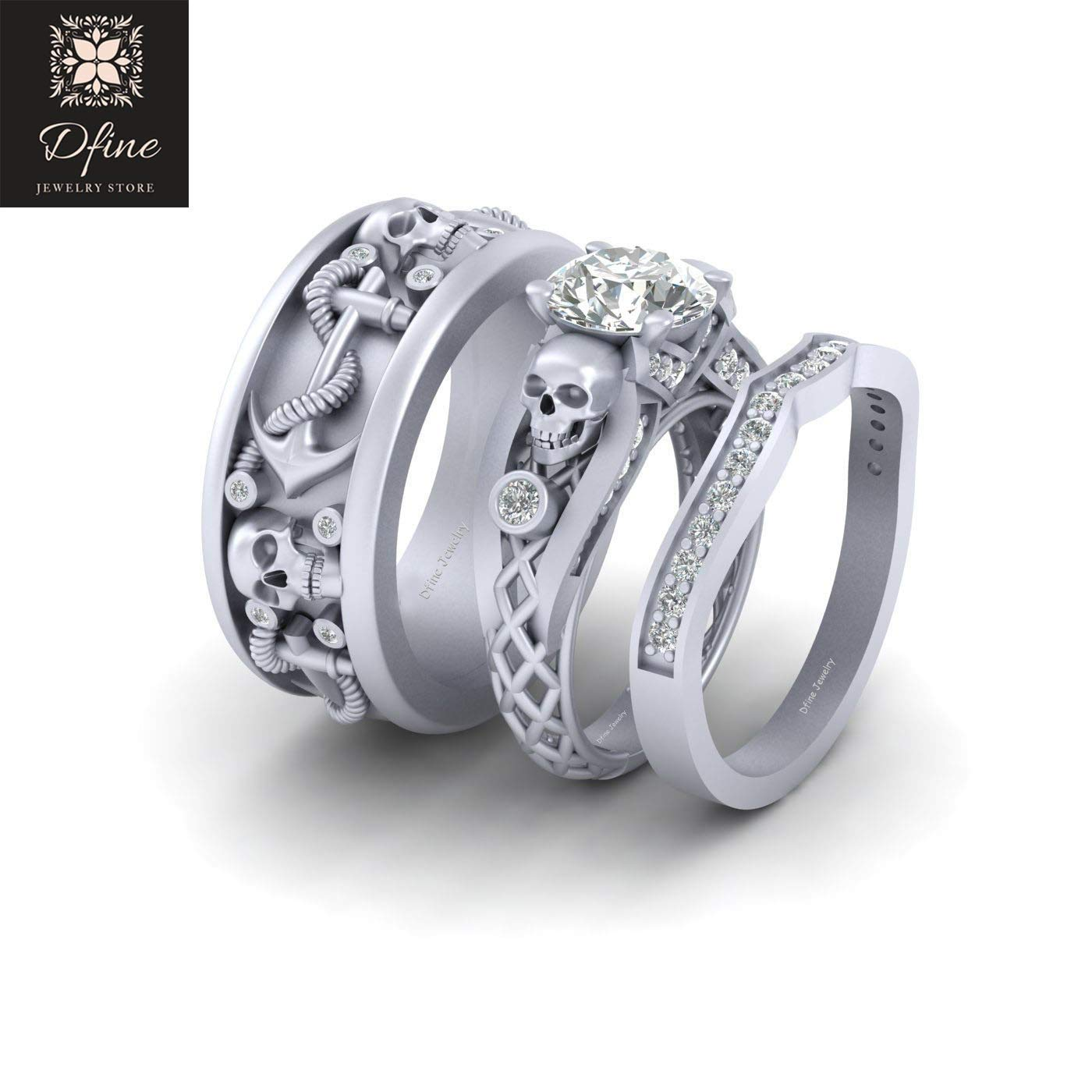Amazon Com Solid 10k White Gold His And Her Matching Skull