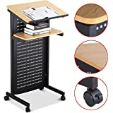 Yaheetech Mobile Lectern Podium Rolling Standing up Desk w/ Tilted Top Board & Edge Stopper