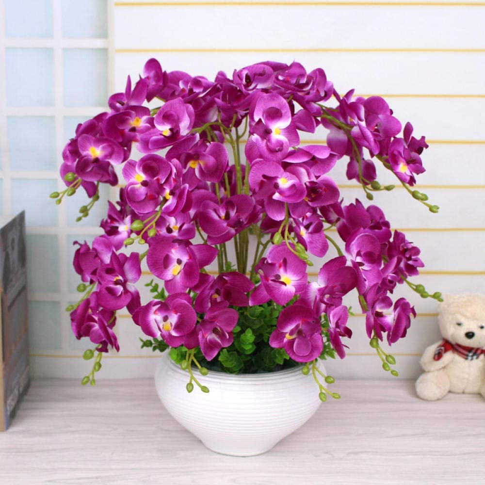 SSJLIVLIN Flor De Simulación Flores Artificiales Phalaenopsis Salón Dormitorio con Decoración Floral Flor Flor De Plástico-Maceta Cónica
