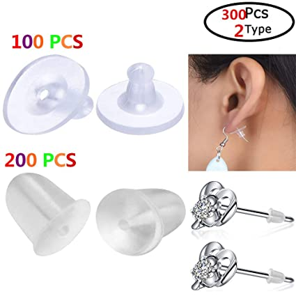 f3df4715d Image Unavailable. Image not available for. Color: 300 Pack Earring Backs  Stoppers,Rubber Clear ...