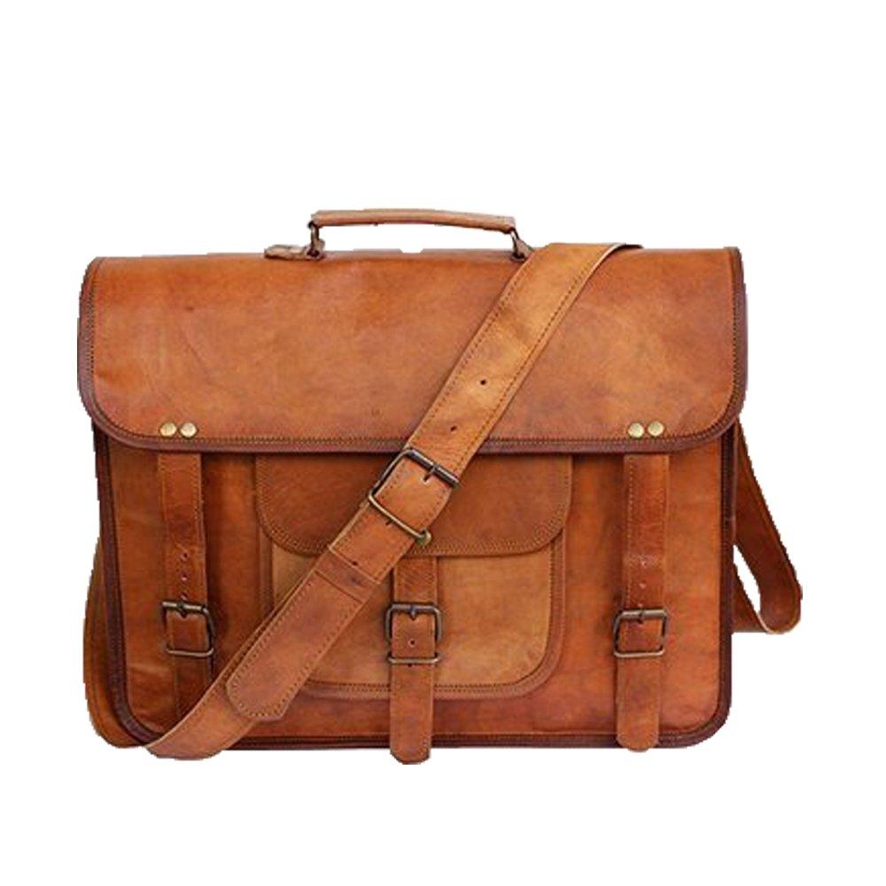 Vintage Leather Messenger Bag 18'' Laptop Satchel Crossbody Office Briefcase College School Bag (Light Brown)