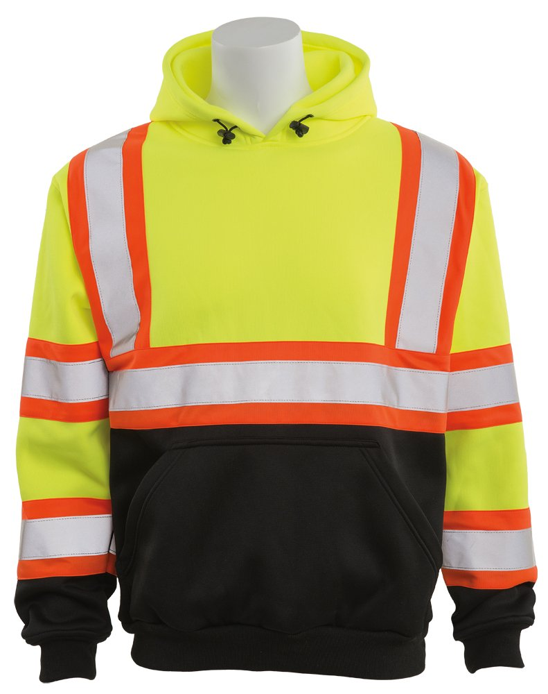 ERB Safety Products 63635 ERB W376BC HVL Pullover Sweatshirt with Contrasting Trim and Black Bottom, Class 3, Medium, Yellow