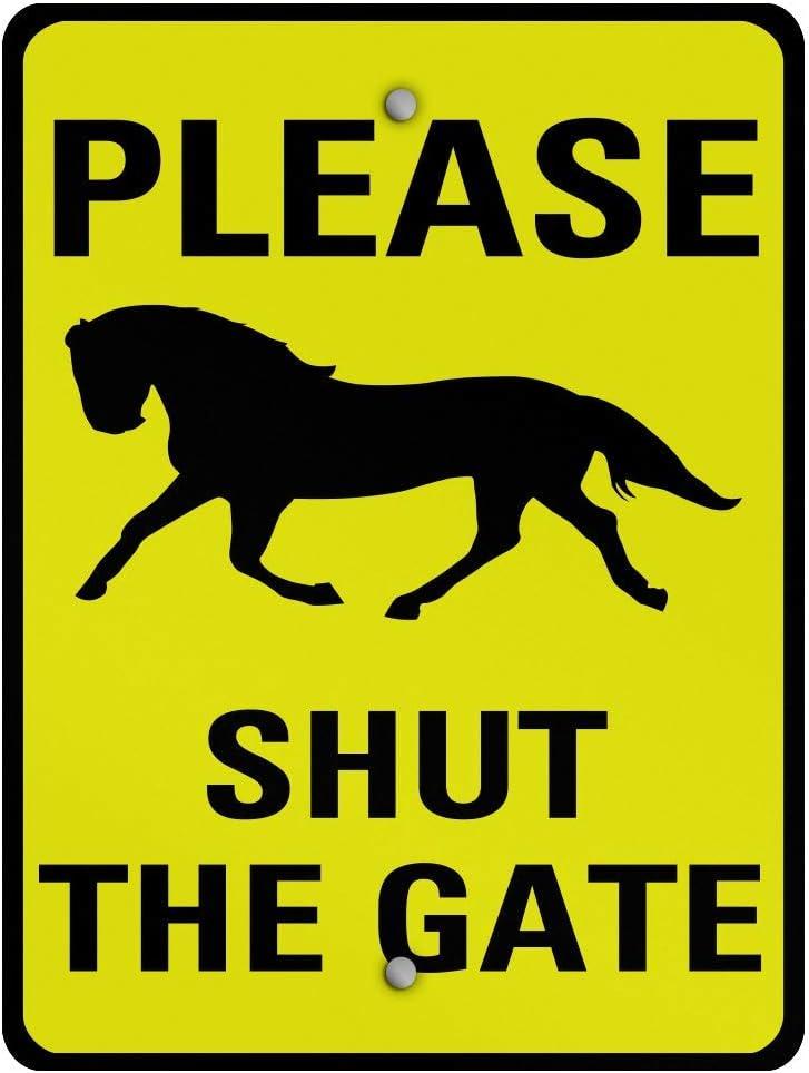 VinMea Aluminum Metal Sign Please Shut The Gate Activity Farm General 8X12 Inches Street Signs