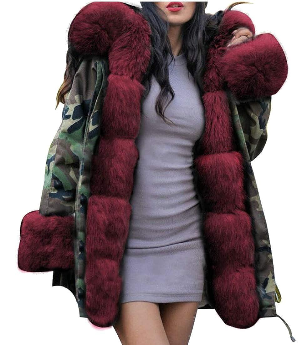 2 Esast Women Faux Fur Lined Parkas Jacket Military Hooded Warm Winter Coats