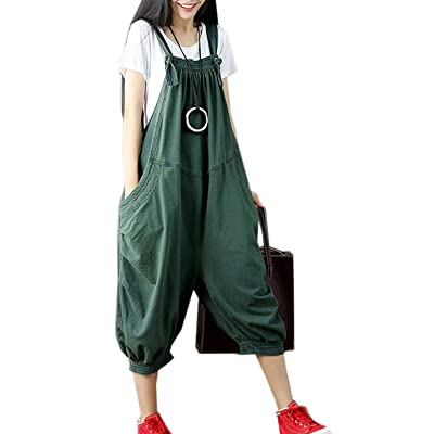 Flygo Women's Baggy Cotton Denim Wide Leg Drop Crotch Overalls Jumpsuit Romper Harem Pants: Clothing