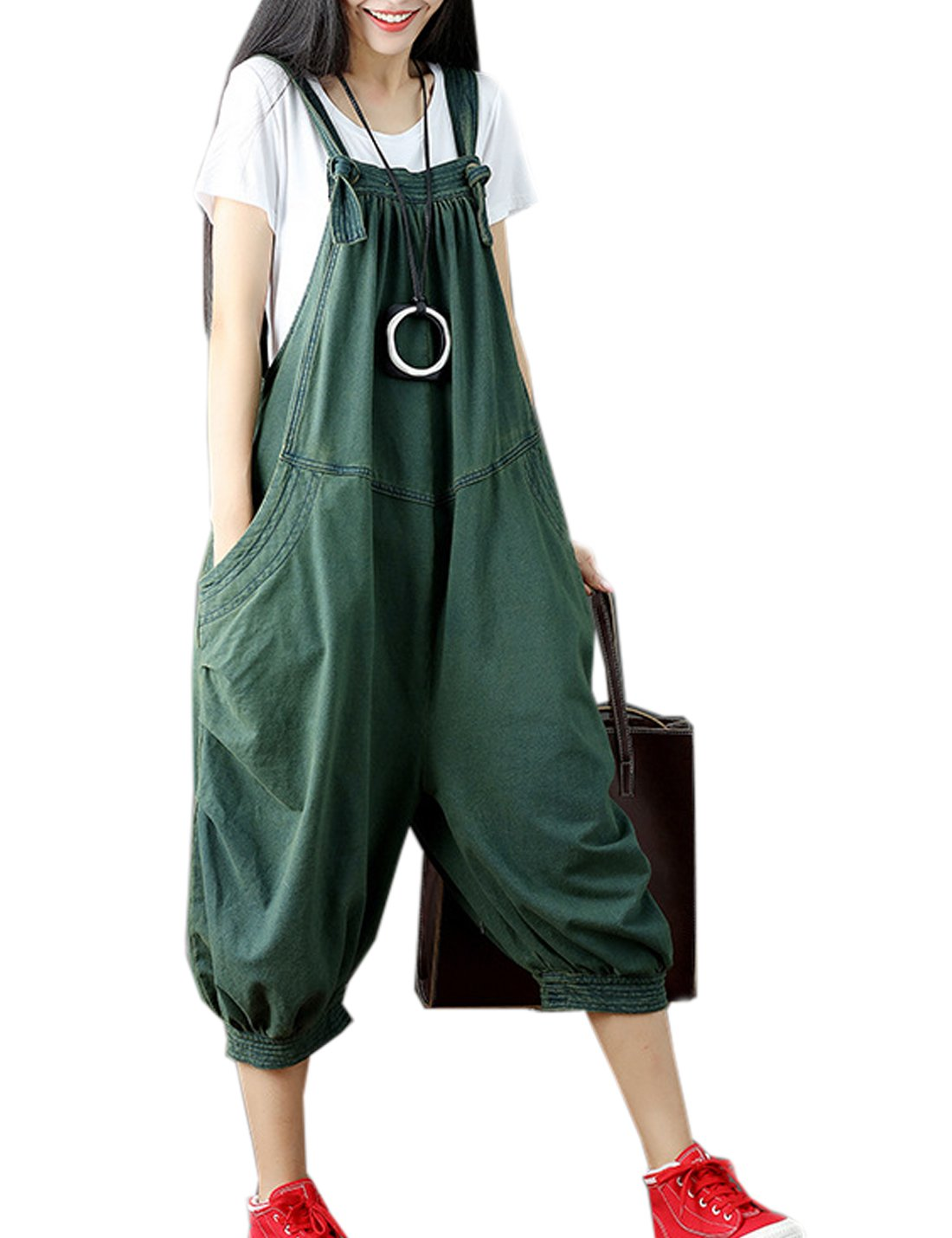 Flygo Women's Loose Baggy Cotton Wide Leg Jumpsuit Rompers Overalls Harem Pants (One Size, Style 01 Army Green)