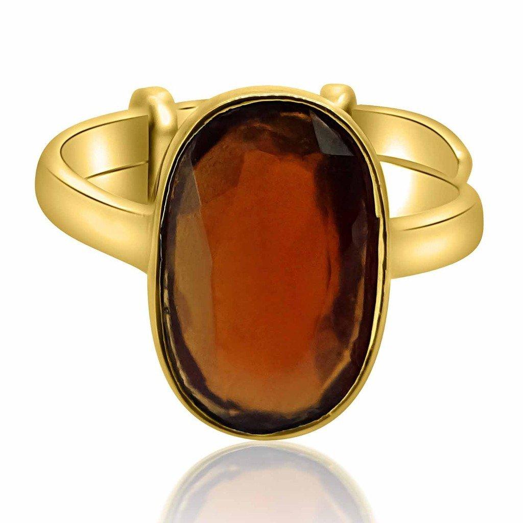 8.25-8.50 Ratti Natural & GJSPC Certified Hessonite Garnet (Gomed) Astrological Gemstone Adjustable Ashtadhatu Ring by ARIHANT GEMS & JEWELS