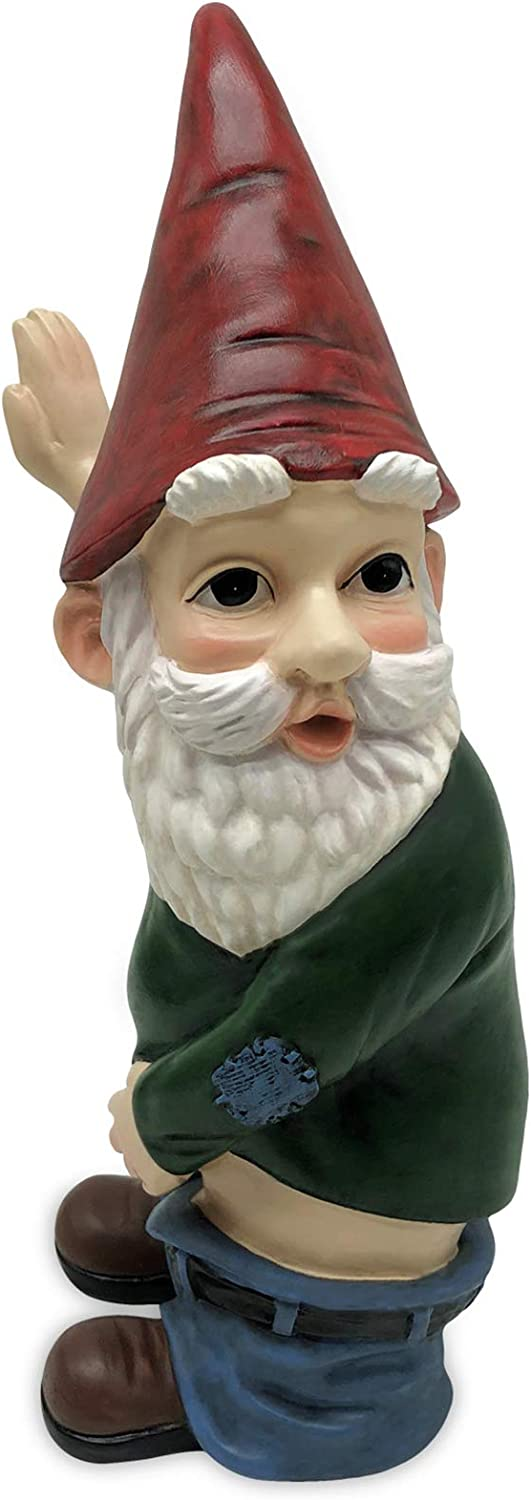 Idle Hippo Peeing Garden Gnome Statue, Naughty Outdoor Gnome Decorations, 10.3'' Tall Funny Garden Figurines for Lawn Ornaments Patio Yard Decor