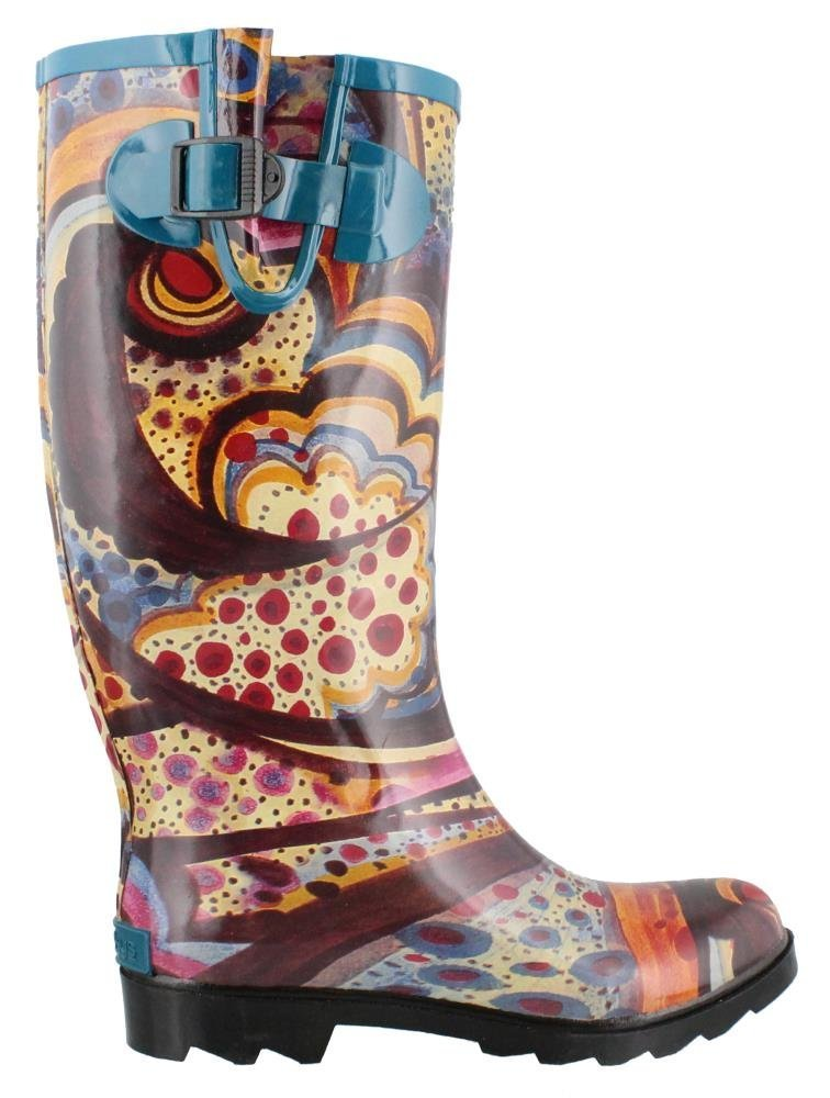 Corkys New Women's Sunshine Rain Boots B00NV99QNY 8 M|Brown Turquoise