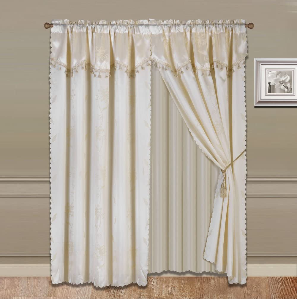 """GorgeousHomeLinen (Nada) One Solid Beige Elegant Rod Pocket Window Curtain Panel Floral Printed Treatment Drape with Matching tieback in 63"""" 84"""" 95"""" 108"""" length (84"""" standard)"""