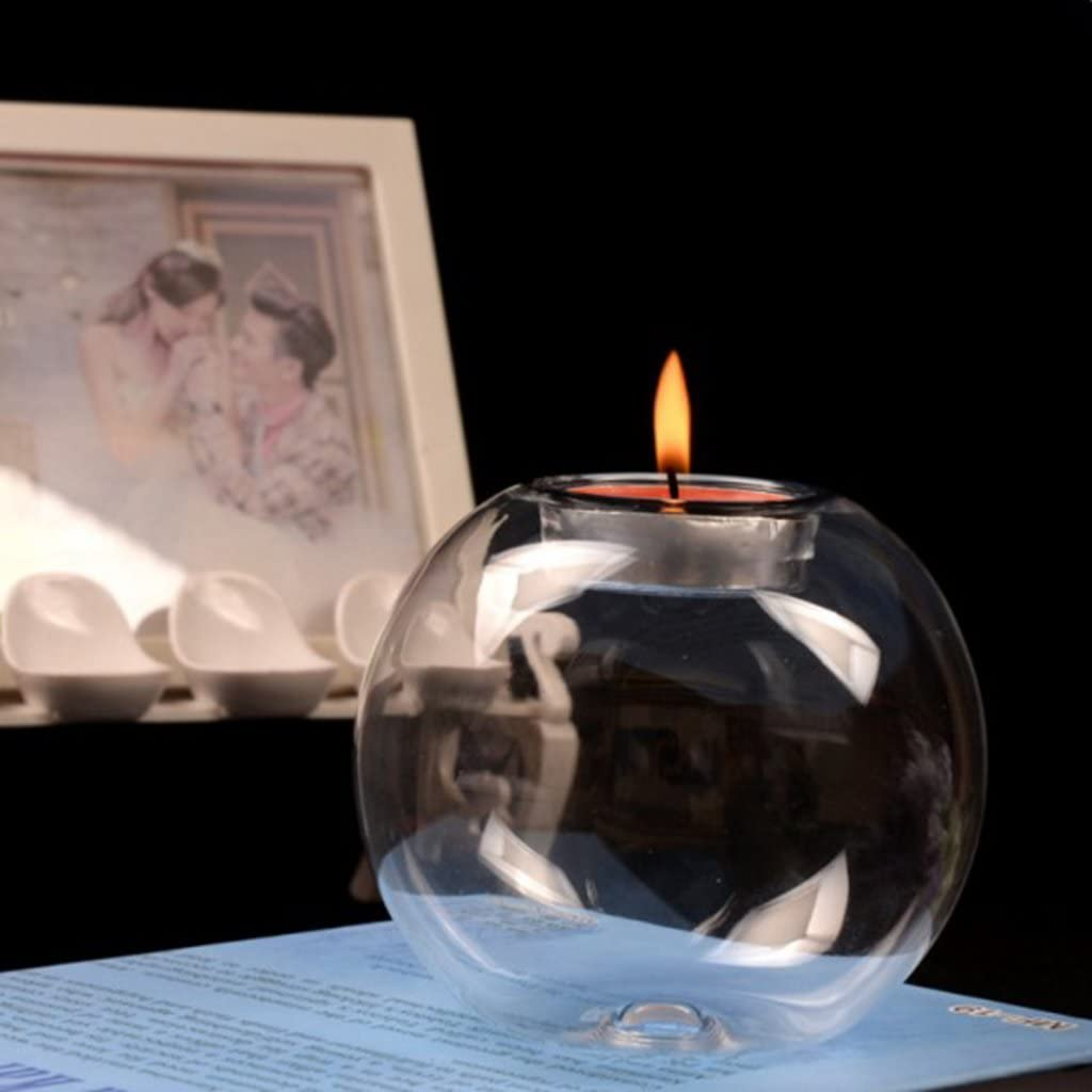 10Pcs Crystal Clear Glass Globe Votive Candle Holder Glass Ball Tealight Candles Holder Stand 8cm/&10cm