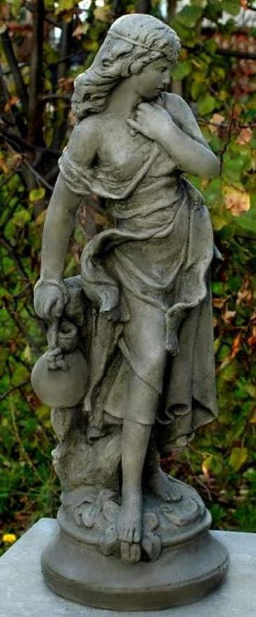 Casa Padrino Art Nouveau Decoración de Jardín Escultura/Estatua Chica con una Jarra Pequeña Gris 26 x 23 x H. 67 cm - Figura de Piedra Escultura de Jardín: Amazon.es: Hogar