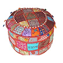 NovaHaat Floor Seating Poufs - Large Round Eclectic Indian Patchwork Ottoman Cover ~ 22 Inch x 12 Inch