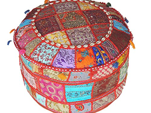 NovaHaat Floor Seating Poufs – Large Round Eclectic Indian Patchwork Ottoman Cover ~ 22 Inch x 12 Inch