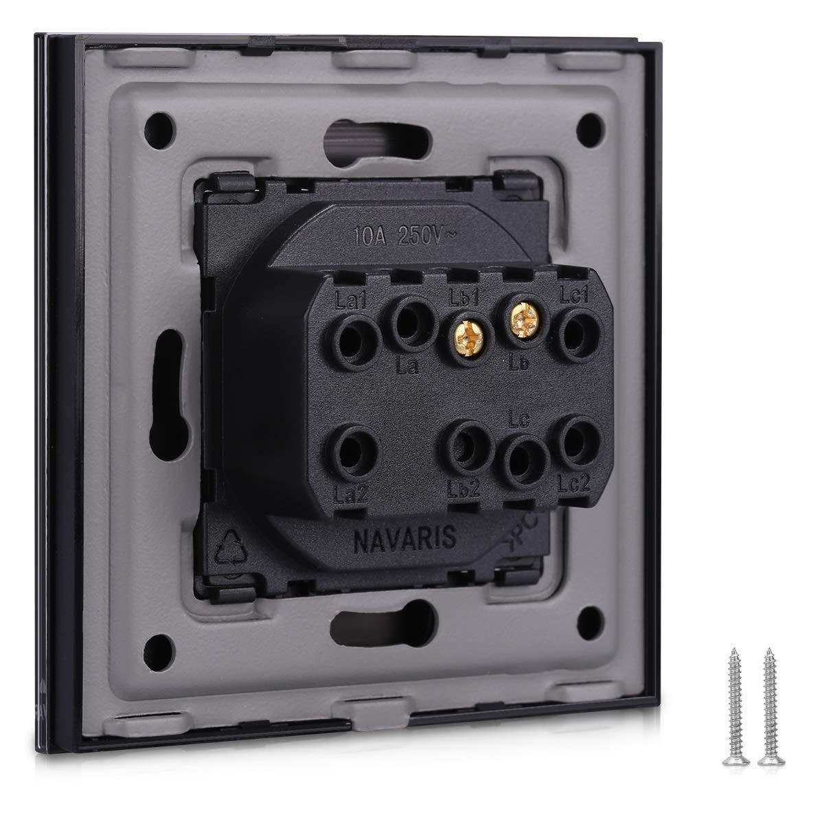 Elegante marco de cristal con interruptor para luz Placa empotrable en negro Navaris Interruptor para pared con marco de cristal