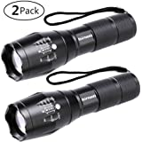 LED Torch, Binwo Super Bright 2000 Lumen Zoomable CREE LED Flashlight, XML2 T6 Adjustable Focus Tactical Flashlight with 5 Modes, Waterproof Handheld Mini Torch for Camping & Outdoor Sports, 2 Pack