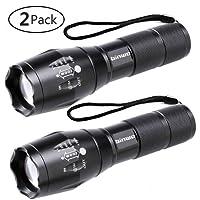 LED Taschenlampe, Binwo Tragbarer Zoombar Superhelle 2000 Lumen CREE LED Taschenlampe, 5 Modis Einstellbar, Wasserdicht Taschenlampen für Outdoor Sports (2 Stück)