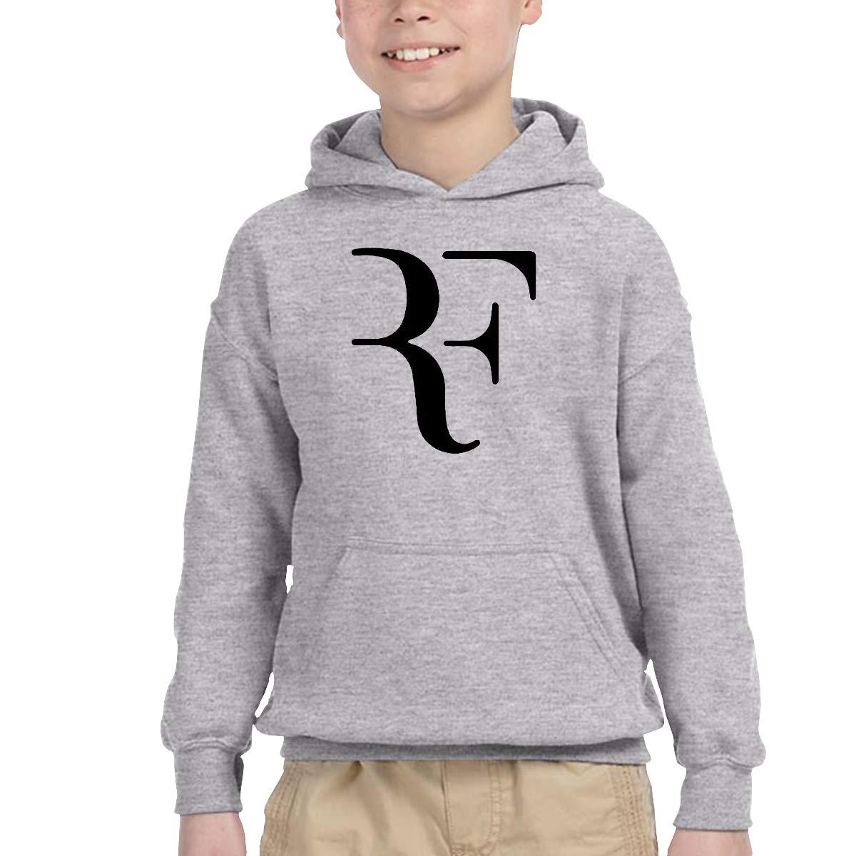 2-6 Year Old Childrens Hooded Pocket Sweater Roger Federer Original Retro Literary Design Gray